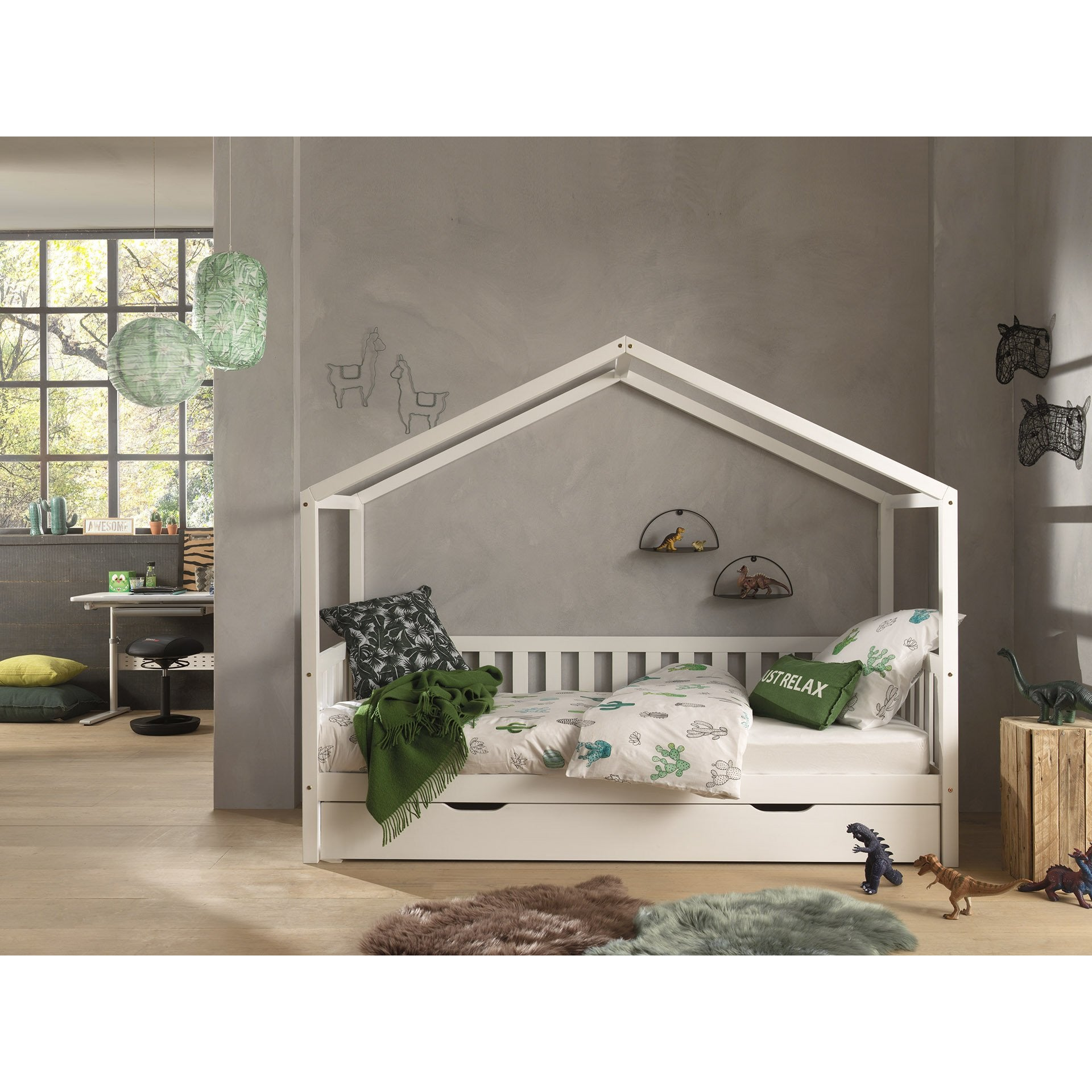 Dallas - Kids House Bed With Backrest 90x200cm