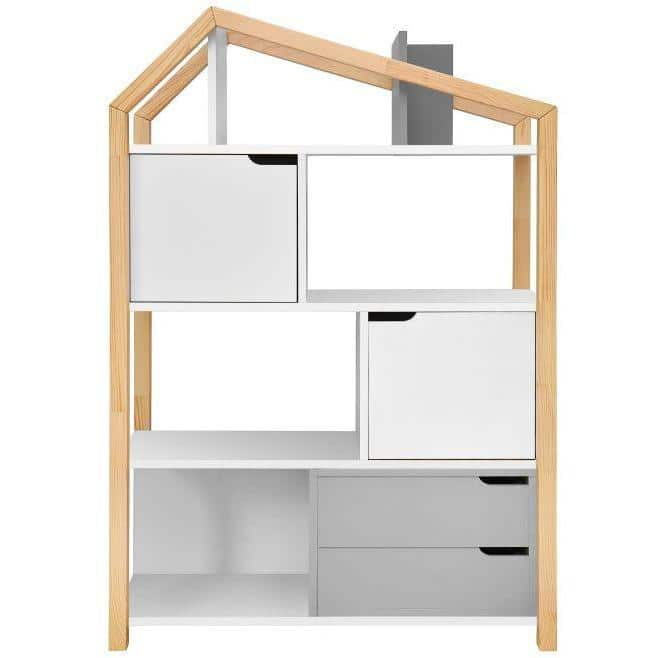 Manhattan - Phoebe Kids Bookcase in White & Pine Wood