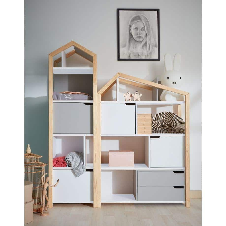 Manhattan - Joey Kids Bookcase in White & Pine Wood