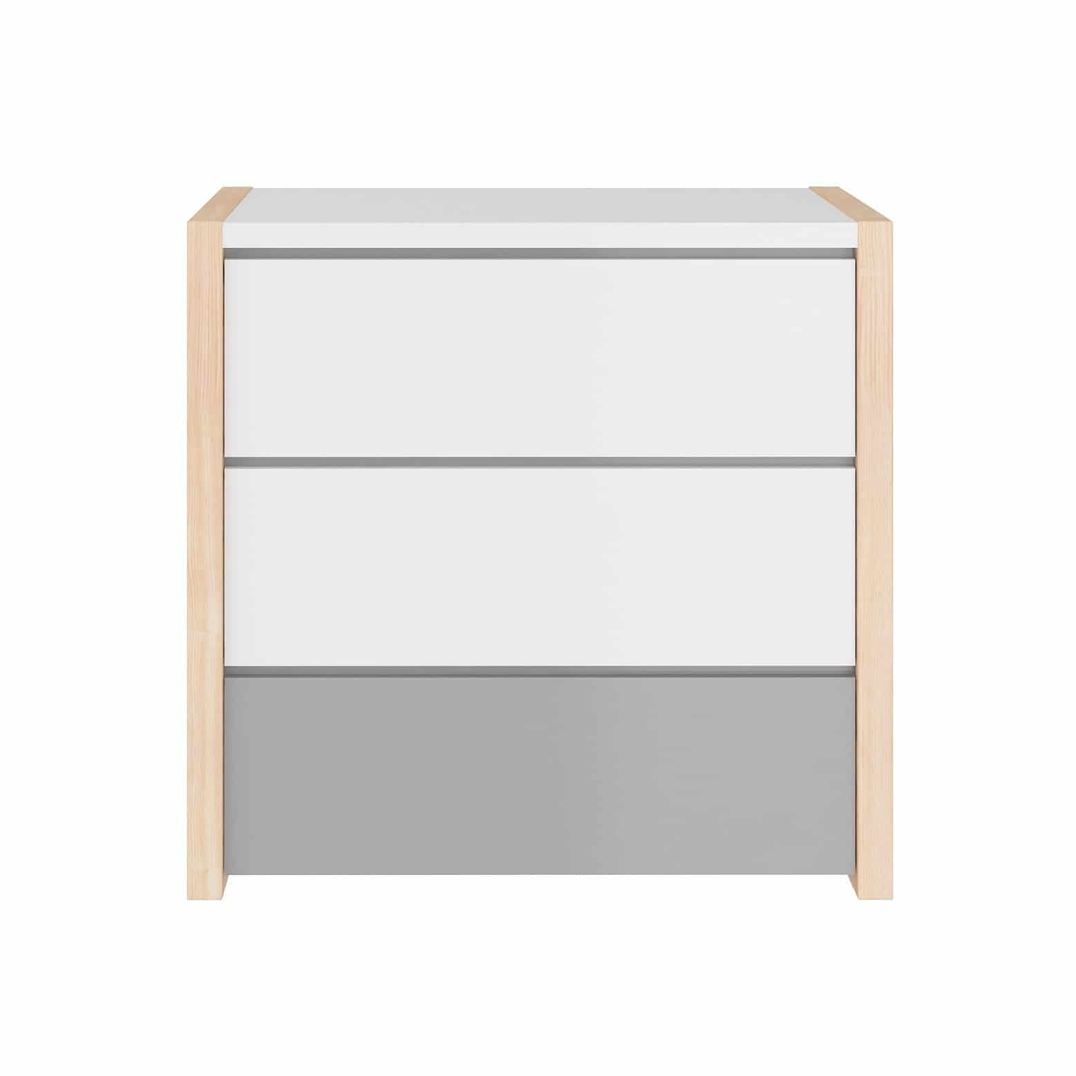 Pinette - Chest of Drawers in Pine, White & Grey