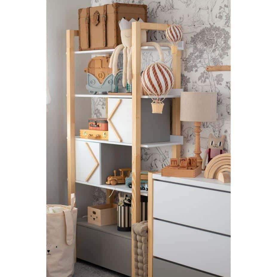 Pinette - Bookcase & Storage Cupboard in Pine, White & Grey