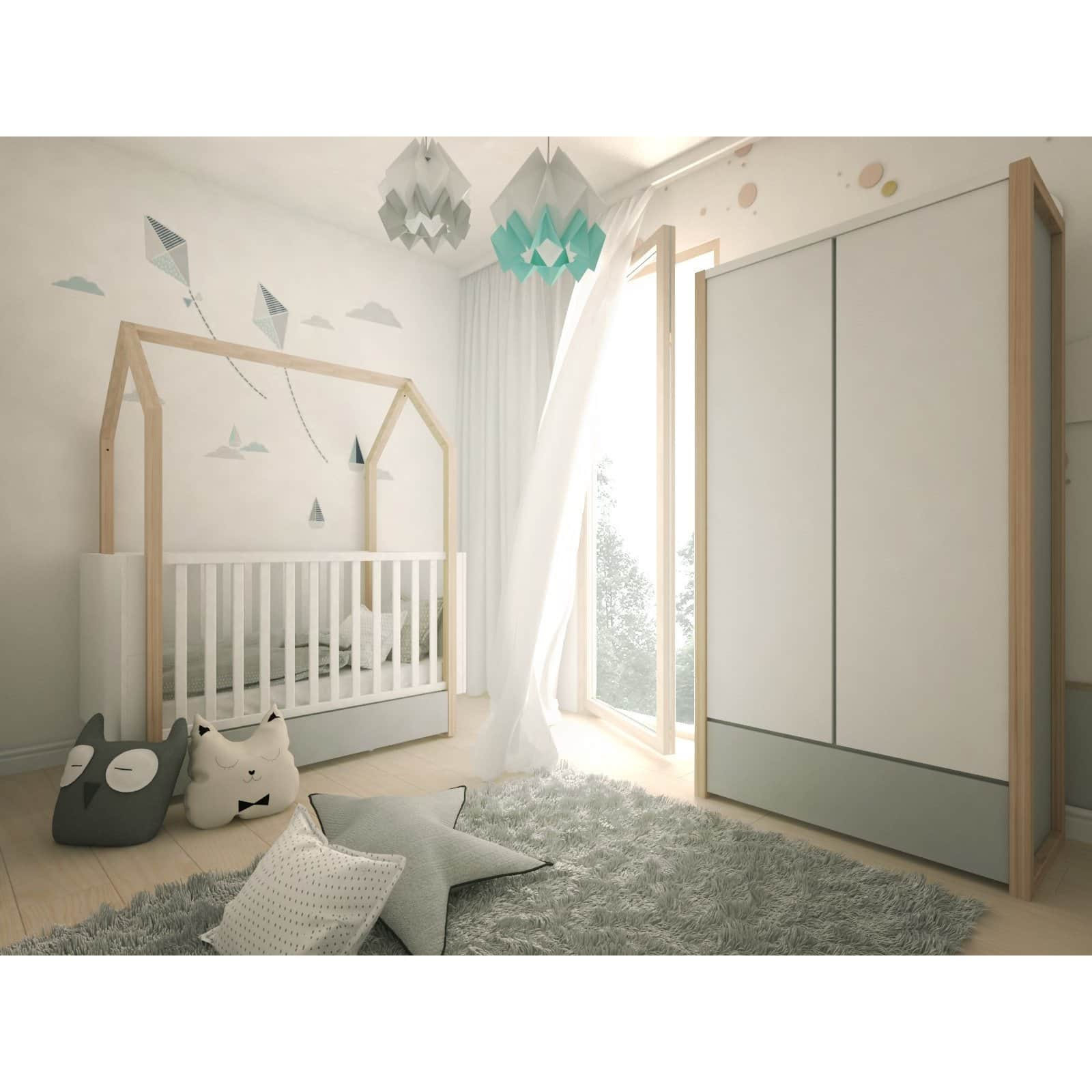 Pinette - 2 Door Wardrobe with Drawer in Pine, White & Grey