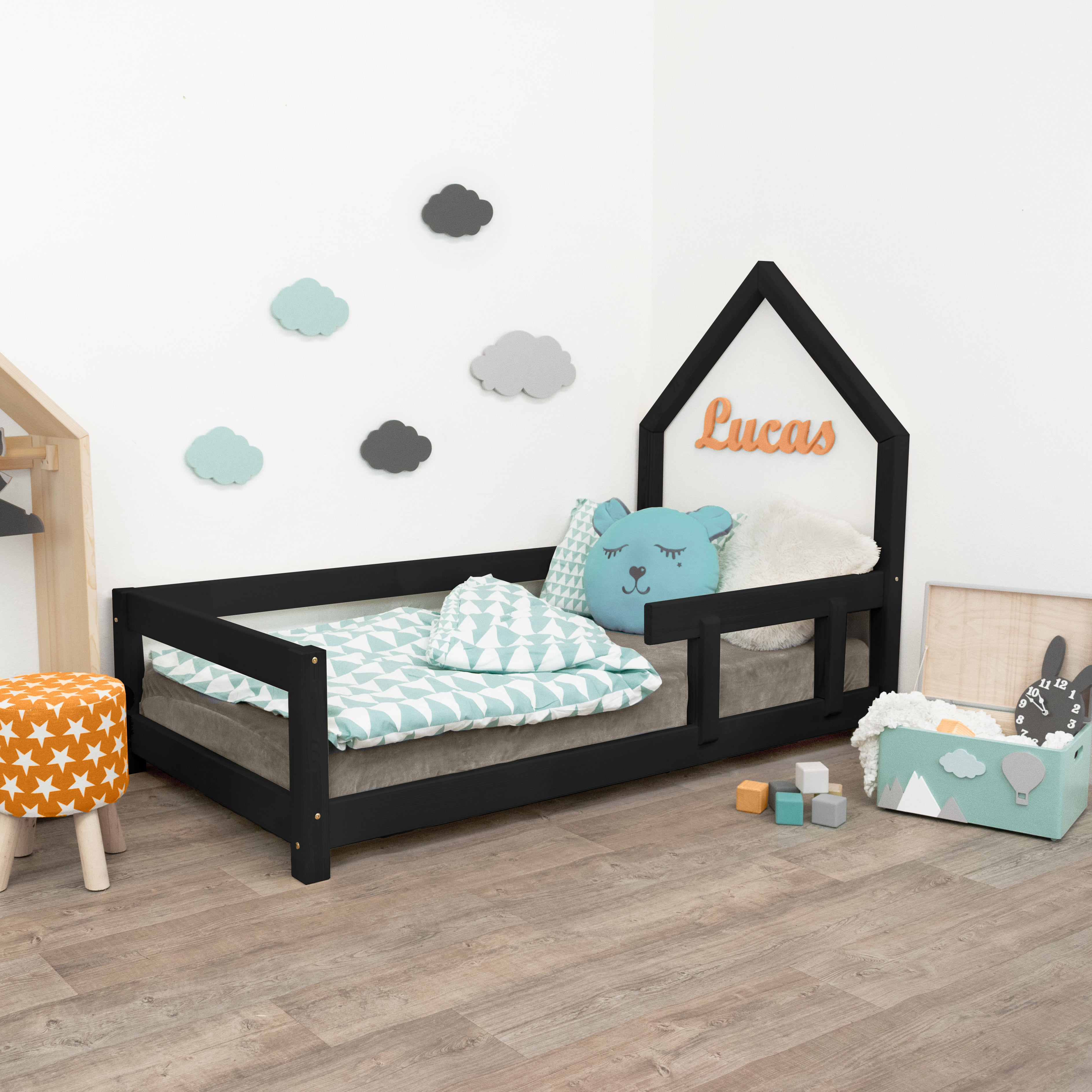 Poppi - Kids House Bed with Guard Rail