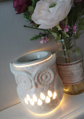 white cermaic owl shaped wax burner/ aroma lamp with cut out pattern. shown lit / switched on