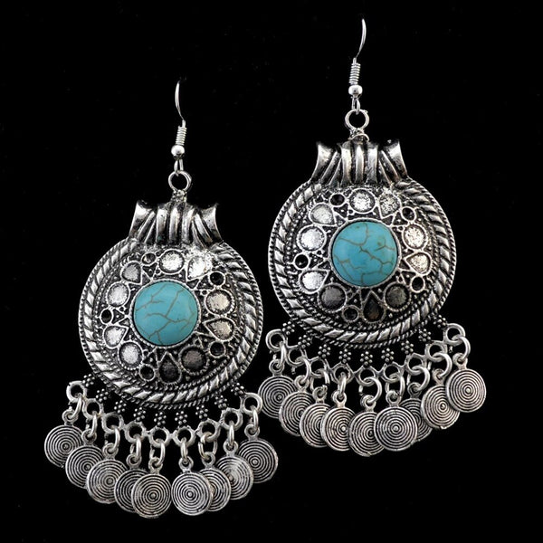 Gypsy Long Blue Stone Earrings