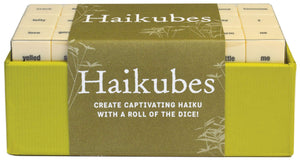Perfect for individual inspiration or as an after-dinner game with friends or family, Haikubes is a set of 63 word cubes offering thousands of possible poems.
