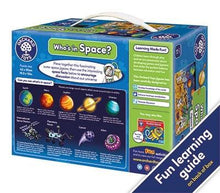 Load image into Gallery viewer, Whos in Space Jigsaw - he talkabout puzzle also includes an activity guide to stimulate discussion and encourage children's development.