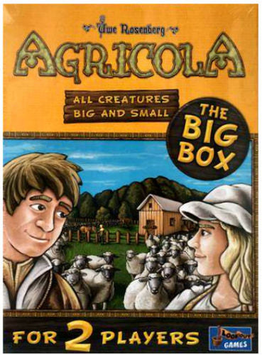 Agricola All Creatures Big and Small - The Big Box by Lookout Games. A free-standing version of the well loved Agricola game. Designed for two players, and focusing exclusively on the animal breeding aspect of the game, say goodbye plows and vegetables in this version!