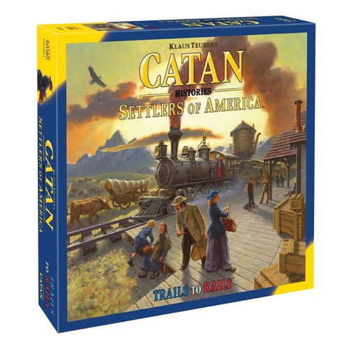 Catan Histories Settlers of America: Trails to Rails uses the familiar Catan hex-tile grid to present a map of the United States. Players collect and trade resources in order to purchase, migrate and build settlements, forge railroads, and acquire locomotives.