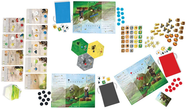 Each turn players reach into their bags of dice, roll and choose their own actions: from exploring new lands and building the board, through gathering resources and trading, to developing technologies which offer new abilities - Dice Settlers