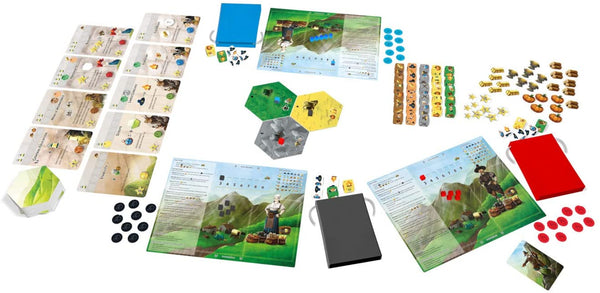 Dice Setters Game - Each turn players reach into their bags of dice, roll and choose their own actions: from exploring new lands and building the board, through gathering resources and trading, to developing technologies