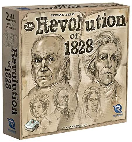 Revolution of 1828 by Renegade Games. 2 Player Game. BoardHoarders