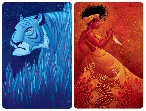 Beautifully illustrated cards from the Lady and the Tiger game by Jellybean games