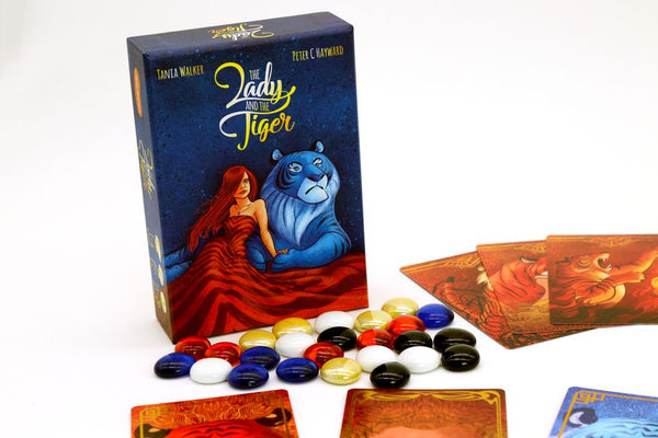 The Lady and The Tiger game and wonderful components and art. The Lady and the Tiger is perfect for couples, families, ladies, tigers, and anyone who enjoys bluffing games!