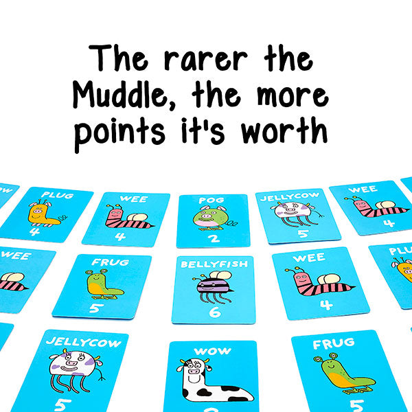 The rarer the muddle the more points in the fun kids card game The Muddles