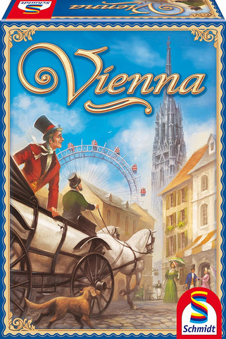 Vienna is a fun game of tile laying strategy and dice rolling luck set by Schmidt Games.