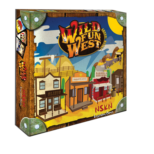 In the card game Wild Fun West, players strive to build a small town in the American Wild West, bidding every turn for the building of their choice, be it a Post Office, a Saloon or a Jailhouse. The goal of every player is to construct four out of the six buildings listed on his objective card.