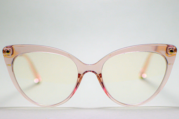 TRANSPARENT PINK CAT EYE BLUE LIGHT BLOCKING GLASSES
