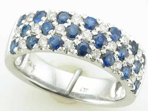 Pave Blue Sapphire and Diamond Band