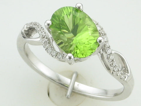 Fantasy Cut Peridot and Diamond Ring