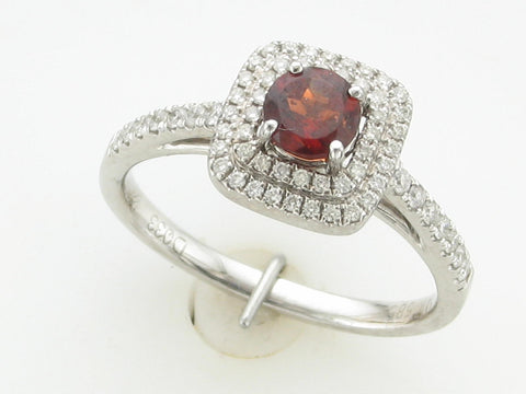 Double Halo Garnet Ring