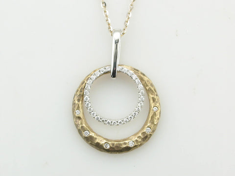 Hammered Two-Tone Diamond Necklace
