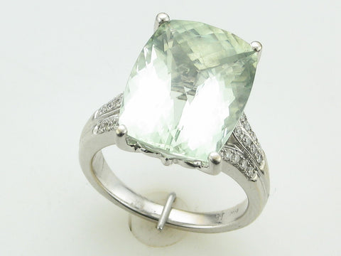 Praisiolite (Green Amethyst) and Diamond Split Shank Ring