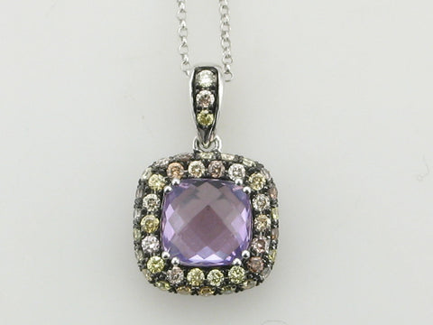 Amethyst, White Diamonds, and Chocolate Diamonds Necklace