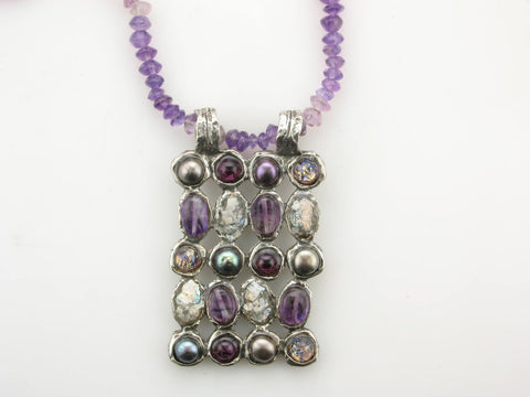 Amethyst Chip, Tahitian Pearl, and Roman Glass Necklace