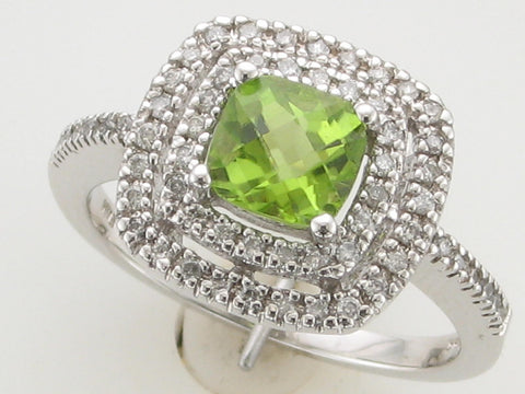 Checkerboard Cut Double Diamond Halo Peridot Ring