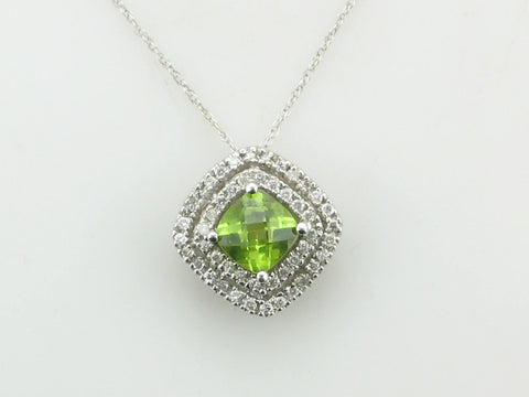 Checkerboard Cut Double Diamond Halo Peridot Necklace