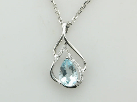 Pear Aquamarine and Diamond Pendant