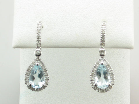 Teardrop Diamond Halo Aquamarine Earrings