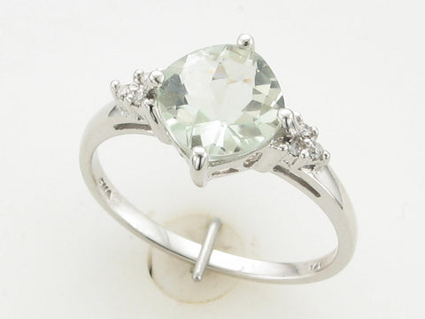 Praisiolite (Green Amethyst) and Diamond Ring