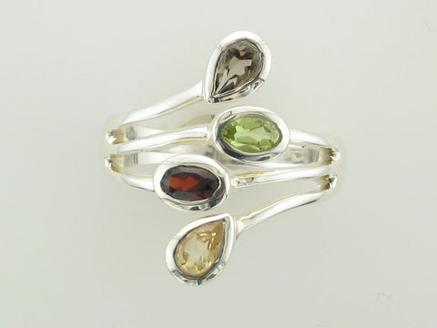 Citrine, Garnet, Peridot, and Smokey Quartz Ring