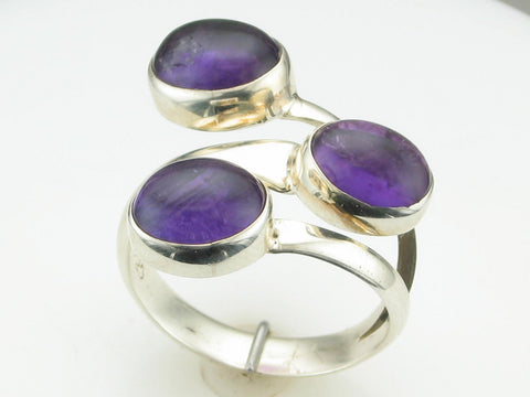 Cabochon Amethyst Stackable Lookalike Ring