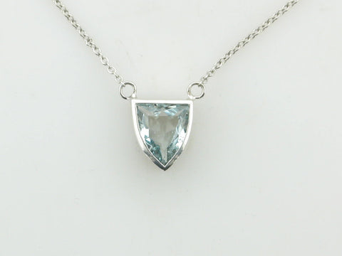 Shield Cut Aquamarine Designer Necklace