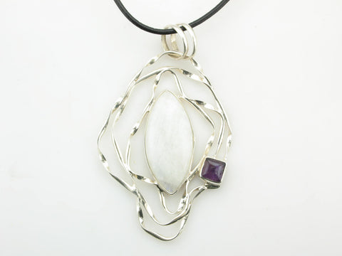 Moonstone and Amethyst Orbit Pendant