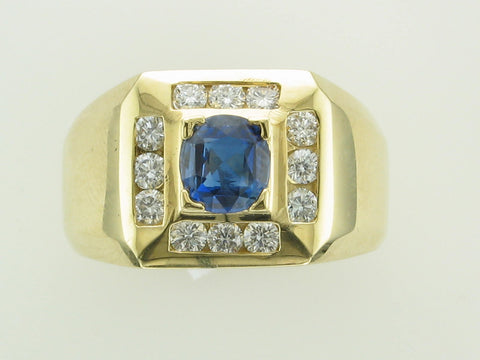 18 Karat Yellow Gold Sapphire and Diamond Gents Ring