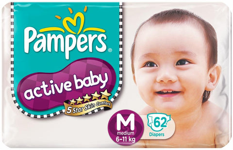 Pampers active  baby diapers (M)62 pieces