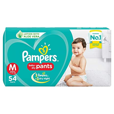 Pampers baby dry diapers(M)- 54 pieces