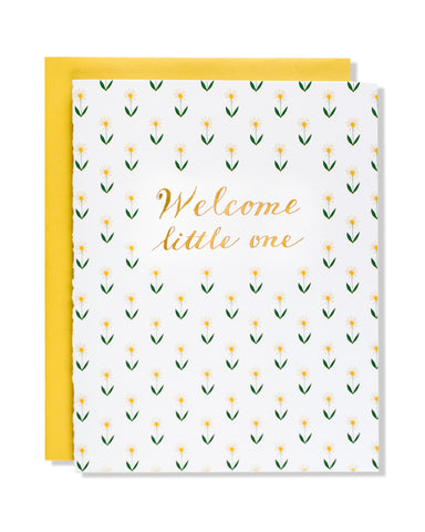 Welcome Little One Floral Foil Card