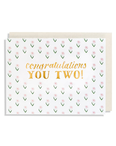 Congratulations You Two Floral Foil Card