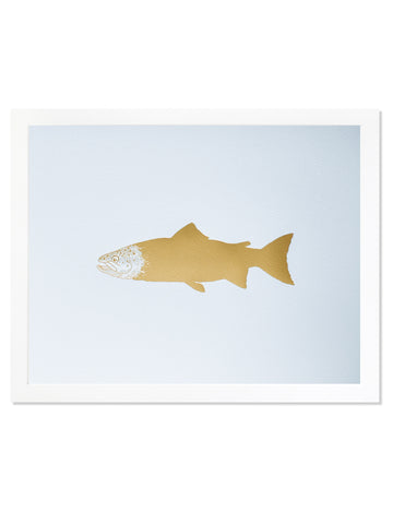 Salmon Gold Foil Art Print