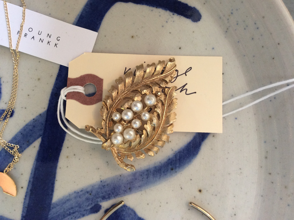 Vintage Brass and Faux Pearl Brooch