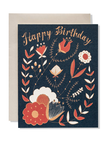 Happy Birthday Floral Folk Card