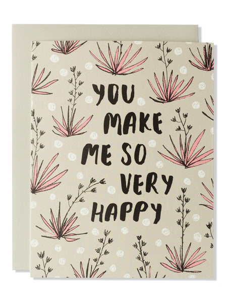 You Make Me So Happy Modern Floral Card
