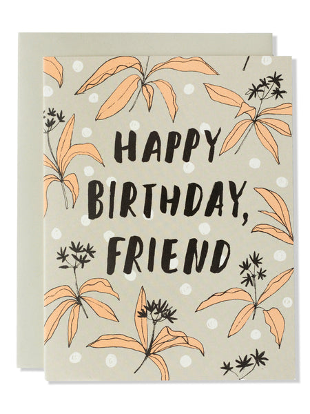 Happy Birthday, Friend Modern Floral Card