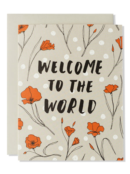 Welcome To The World Modern Floral Card
