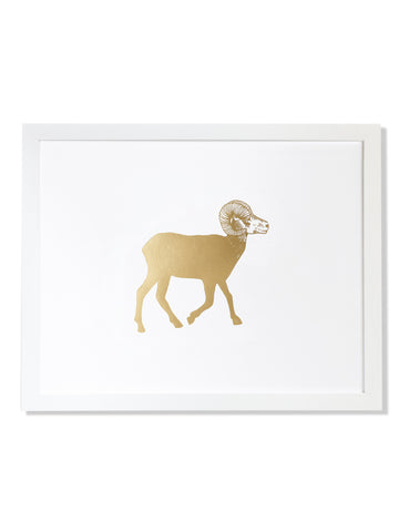 Big Horn Sheep Gold Foil Art Print